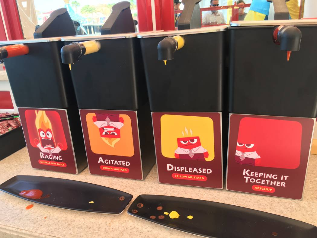 "Angry Dogs in Pixar Promenade features a variety of toppings including ""Raging"" buffalo hot sauce. (Las Vegas Review-Journal)"
