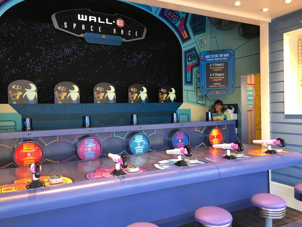 "The new WALL-E Space Race game on the ""Toy Story Boardwalk"" section of Pixar PIer. (Las Vegas Review-Journal)"
