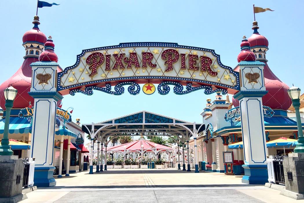 The entrance to Pixar Pier at Disney California Adventure Park. (Las Vegas Review-Journal)