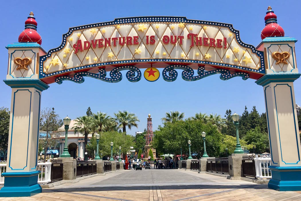 "The backside of the entrance to Pixar Pier features the well-known slogan ""Adventure is out there"" from the movie ""Up"". (Las Vegas Review-Journal)"