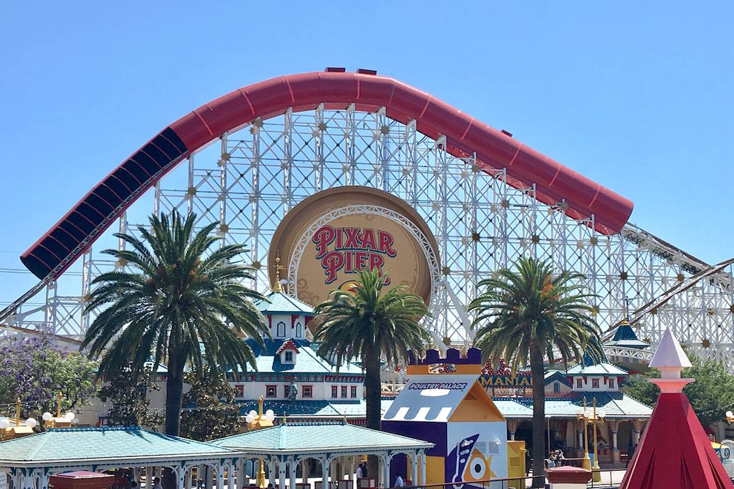 Part of the Incredicoaster track is seen above a logo for Pixar Pier. (Las Vegas Review-Journal)