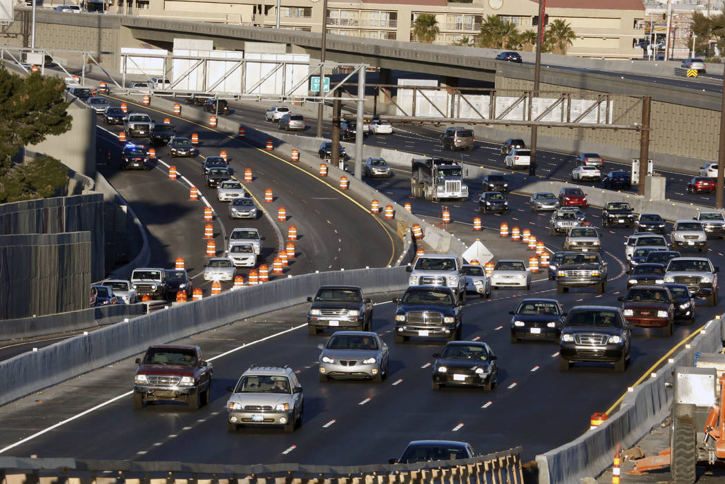 A connector ramp linking southbound U.S. Highway 95 to southbound Interstate 15 in the Spaghetti Bowl is scheduled to close from overnight Thursday as part of work for Project Neon. (Bizuayehu Tes ...
