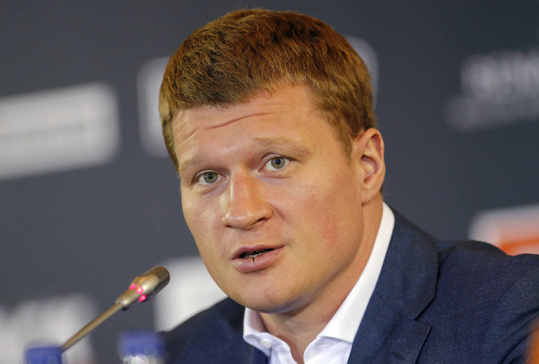 In this file photo dated Monday, May 16, 2016, Alexander Povetkin of Russia speaks at a news conference in Moscow. (AP Photo/Alexander Zemlianichenko)