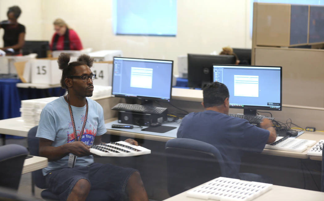 Clark County election workers conduct a recount of the Democratic primary for the County Commission District E seat at election headquarters in Las Vegas Tuesday, June 26, 2018. K.M. Cannon Las Ve ...