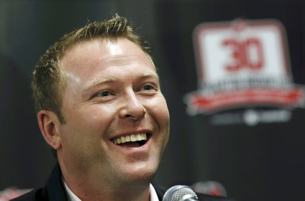 In this Feb. 9, 2016, file photo, former New Jersey Devils star goalie Martin Brodeur smiles as he talks about his career with the Devils during a news conference in Newark, N.J. (AP Photo/Mel Ev ...