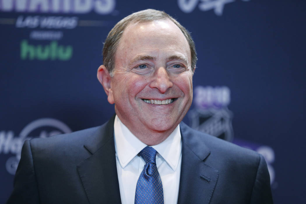 In this June 20, 2018, file photo, Gary Bettman, commissioner of the National Hockey League, poses on the red carpet before the NHL Awards in Las Vegas. Bettman was selected to the Hockey Hall of ...