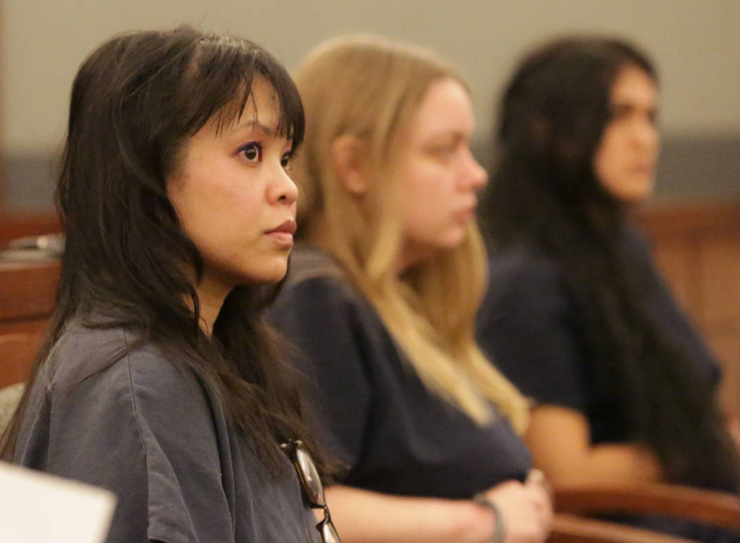 Elinor Indico, left, who was convicted of fatally stabbing her pregnant sister-in-law, awaits sentencing at the Las Vegas Regional Justice Center on Tuesday, June 26, 2018. Michael Quine Las Vegas ...