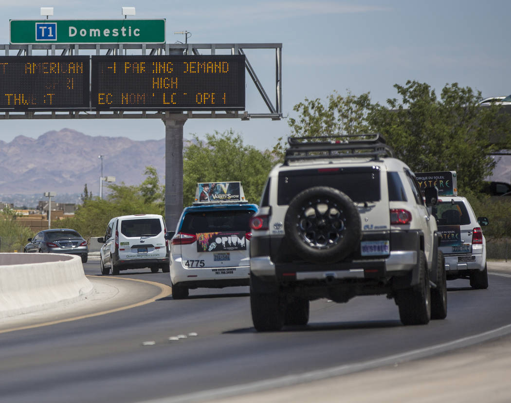 Travelers drive to Terminal 1 at McCarran International Airport on Thursday, June 28, 2018, in Las Vegas. Benjamin Hager Las Vegas Review-Journal @benjaminhphoto