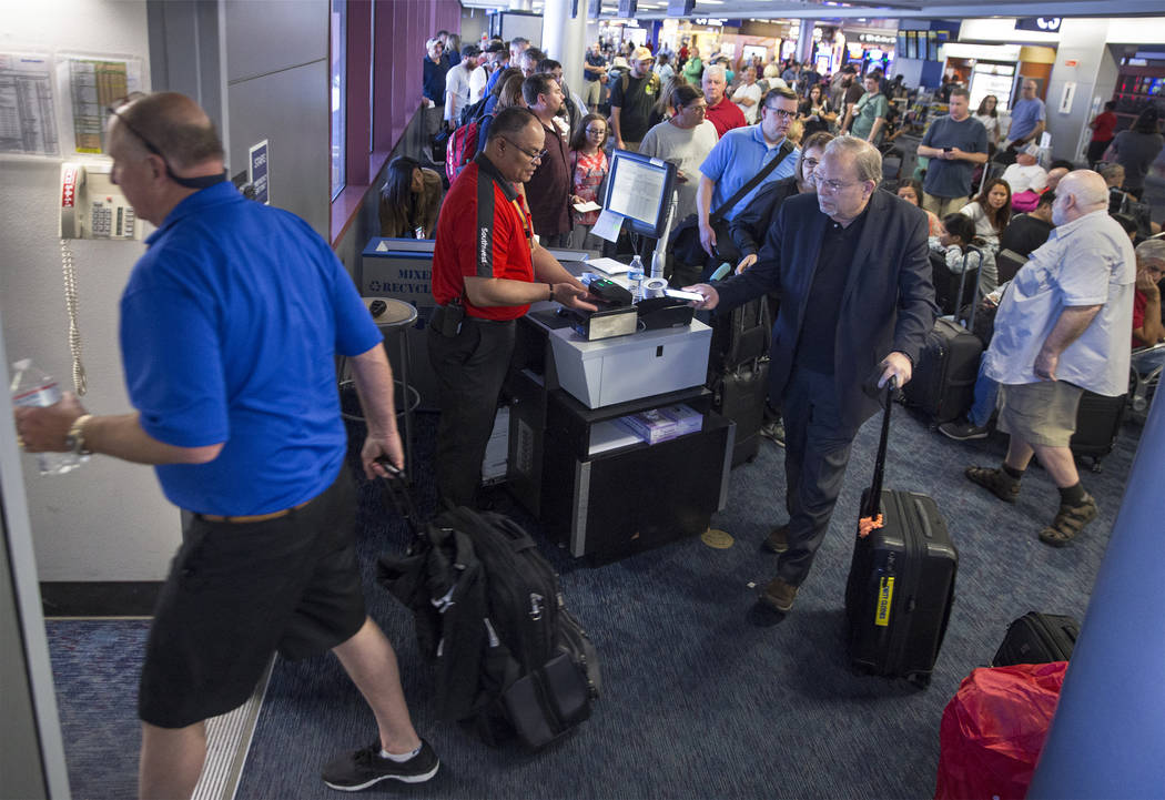 Passengers board a Southwest flight in Gate D of Terminal 1 at McCarran International Airport on Thursday, June 28, 2018, in Las Vegas. Benjamin Hager Las Vegas Review-Journal @benjaminhphoto
