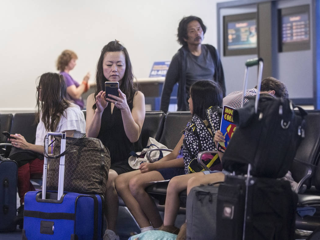 Passengers wait for their Southwest flight at Gate D in Terminal 1 at McCarran International Airport on Thursday, June 28, 2018, in Las Vegas. Benjamin Hager Las Vegas Review-Journal @benjaminhphoto