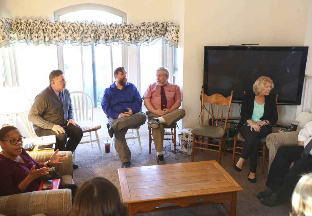 Members of the Clark County Education Association election slate known as Educators for Progress meet at the home of member Theo Small, the current CCEA vice president, in Las Vegas on Monday, Jan ...