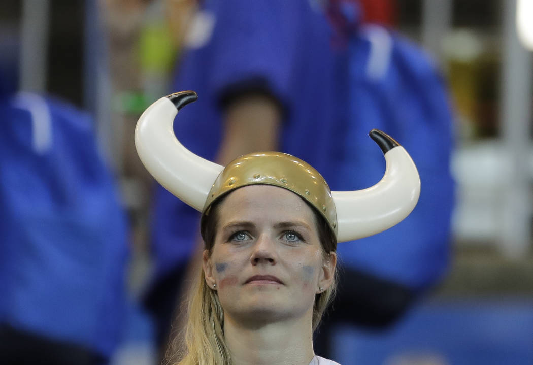 An Iceland looks from the stands at the end of the group D match between Iceland and Croatia, at the 2018 soccer World Cup in the Rostov Arena in Rostov-on-Don, Russia, Tuesday, June 26, 2018. Cro ...