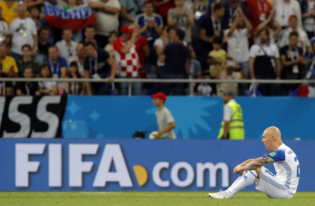 Iceland's Emil Hallfredsson reacts at the end of the group D match between Iceland and Croatia, at the 2018 soccer World Cup in the Rostov Arena in Rostov-on-Don, Russia, Tuesday, June 26, 2018. ( ...
