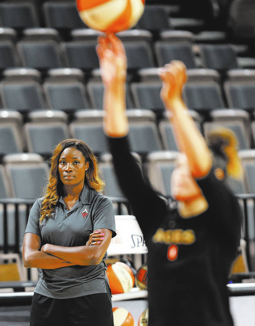 Las Vegas Aces's commentator Rushia Brown during a team practice at the Mandalay Bay Events Center in Las Vegas, Tuesday, June 26, 2018. Erik Verduzco Las Vegas Review-Journal @Erik_Verduzco