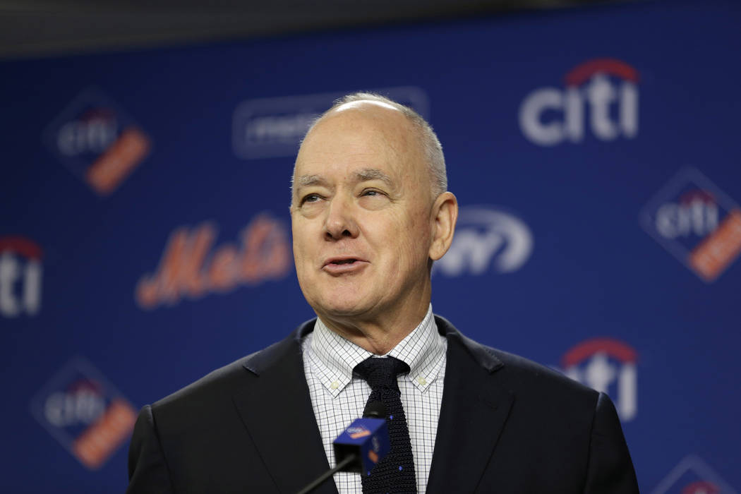In this Wednesday, Jan. 17, 2018 file photo, New York Mets' general manager Sandy Alderson speaks at a news conference at Citi Field in New York. (AP Photo/Seth Wenig, File)