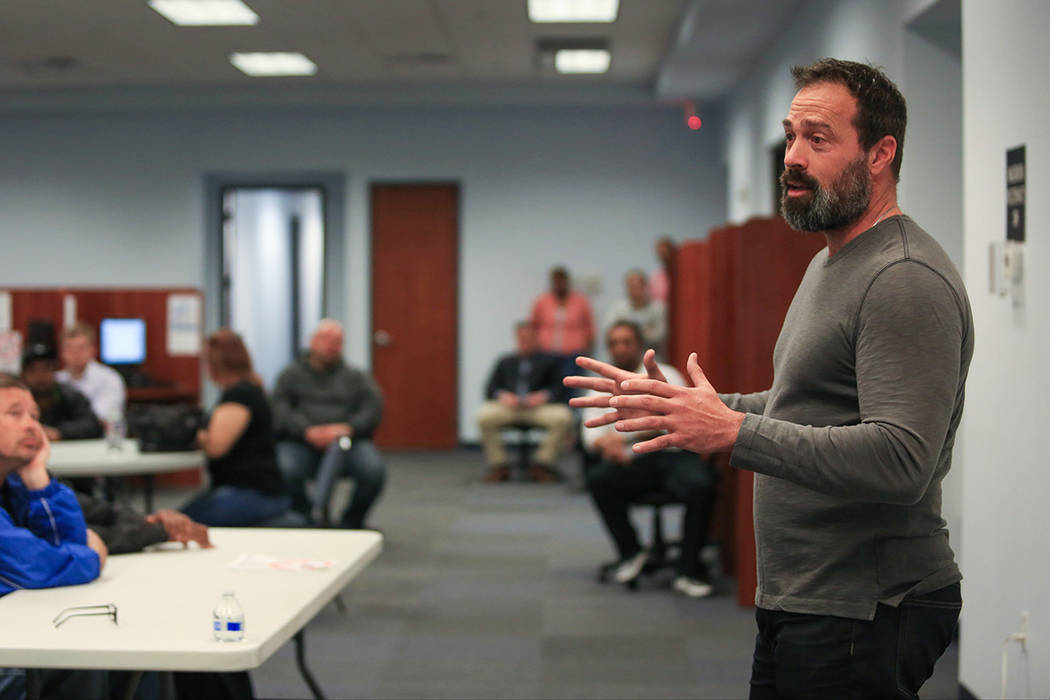 Former Clark County Commissioner Dario Herrera gives a talk at one of the Foundation for an Independent Tomorrow's mentor meetings in this file photo. Brett Le Blanc Las Vegas Review-Journal