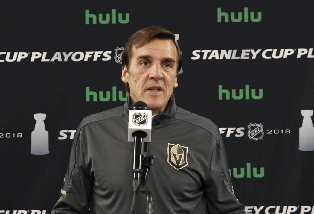 Vegas Golden Knights general manager George McPhee speaks during a press conference at City National Arena on Monday, May 7, 2018, in Las Vegas. Bizuayehu Tesfaye/Las Vegas Review-Journal @bizutesfaye