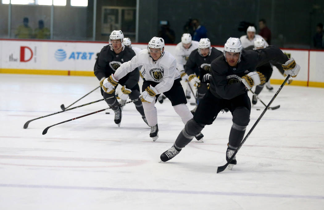 Vegas Golden Knights sprint during the first day of development camp at City National Arena in Las Vegas Tuesday, June 26, 2018. K.M. Cannon Las Vegas Review-Journal @KMCannonPhoto
