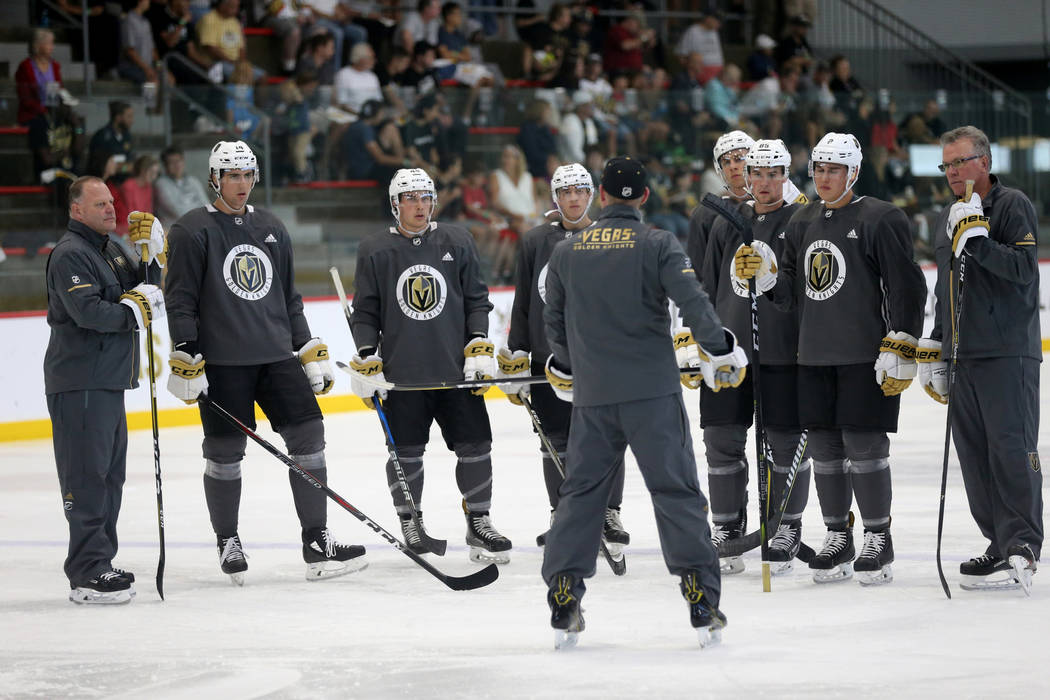Vegas Golden Knights head coach Gerard Gallant, left, and players during the first day of development camp at City National Arena in Las Vegas Tuesday, June 26, 2018. K.M. Cannon Las Vegas Review- ...