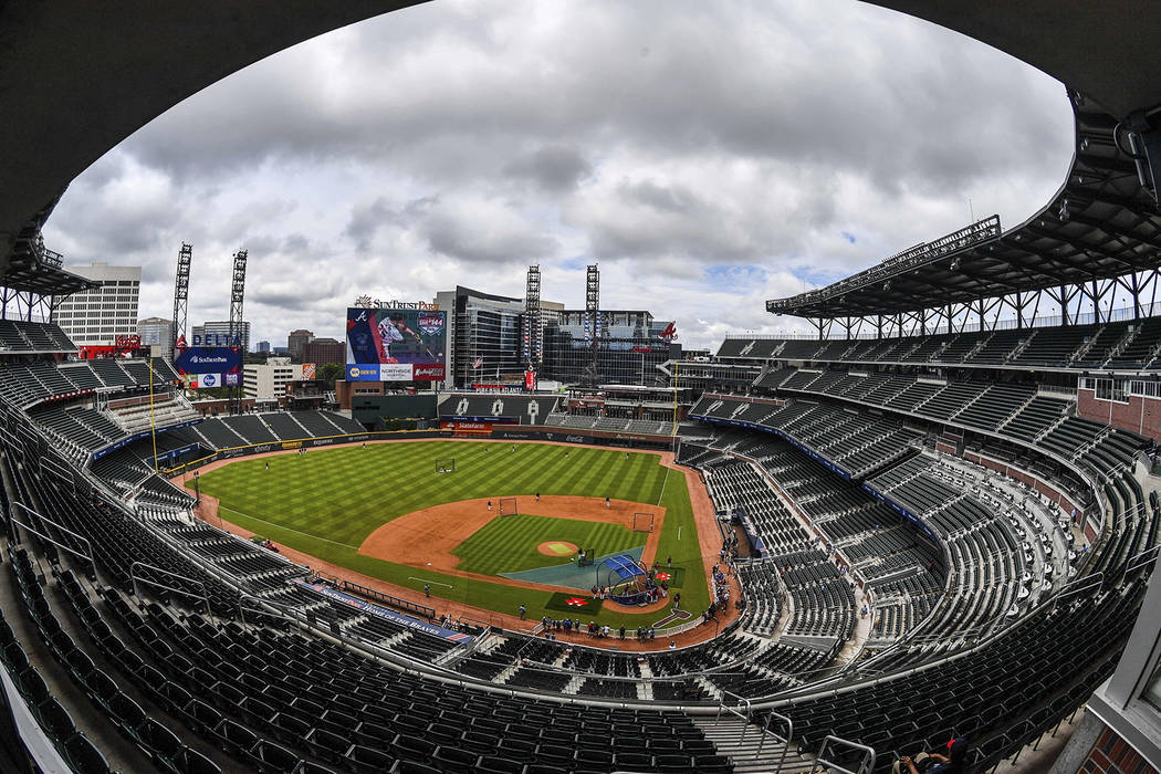 SunTrust Park is viewed before a baseball game between the Milwaukee Brewers and the Atlanta Braves on Saturday, June 24, 2017, in Atlanta. (AP Photo/Danny Karnik)
