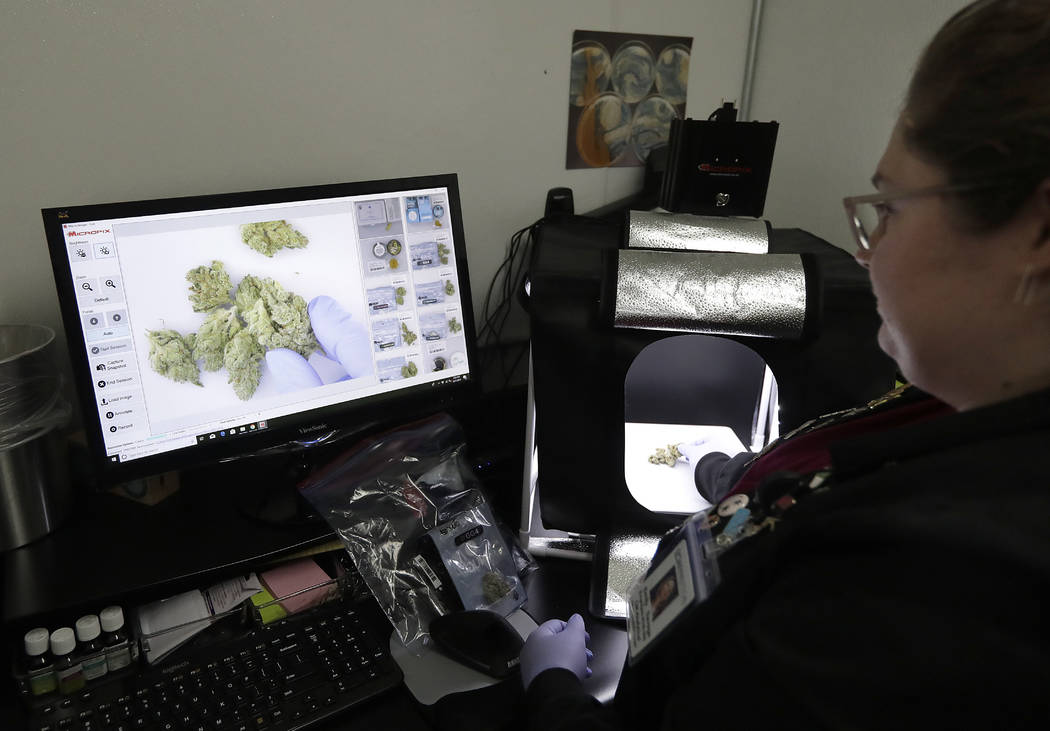In this June 21, 2018, photo, laboratory manager Emily Savage demonstrates how she uses an instrument to photograph cannabis samples at CW Analytical Laboratories, in Oakland, Calif. California's ...