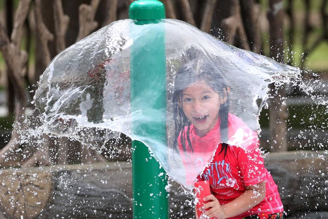 Layla Valdivia, 6, plays at Sunset Park in Las Vegas. (Bizuayehu Tesfaye/Las Vegas Review-Journal) @bizutesfaye