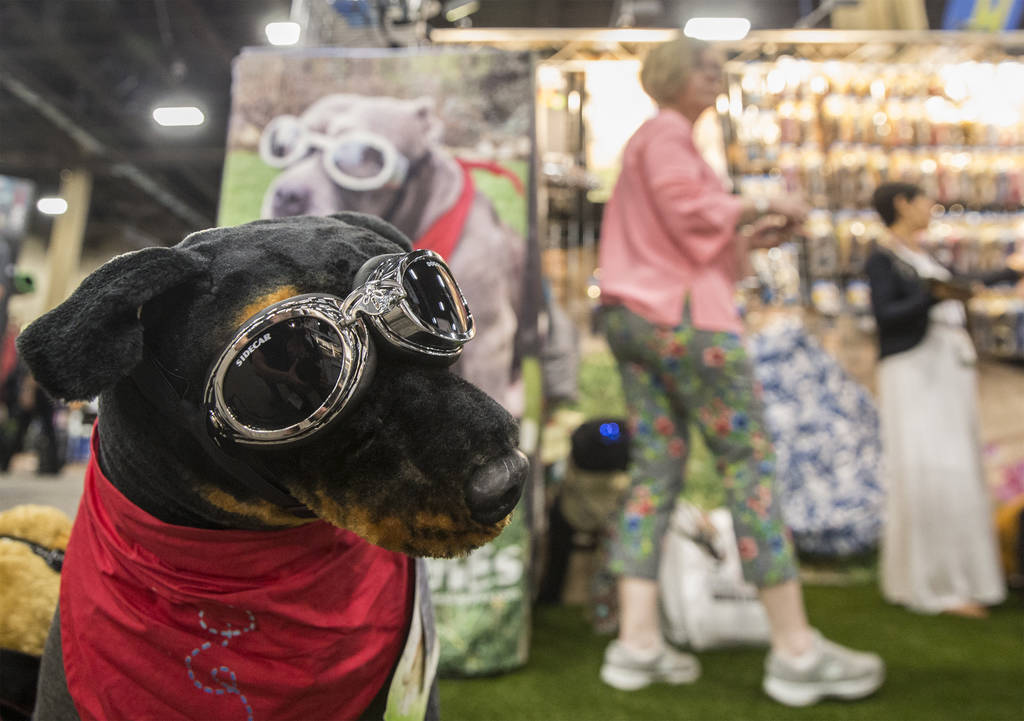 Dog goggles made by Doggles at SuperZoo, an annual trade show for pet retailers at the Mandalay Bay Convention Center on Tuesday, June 26, 2018, in Las Vegas. Benjamin Hager Las Vegas Review-Journ ...
