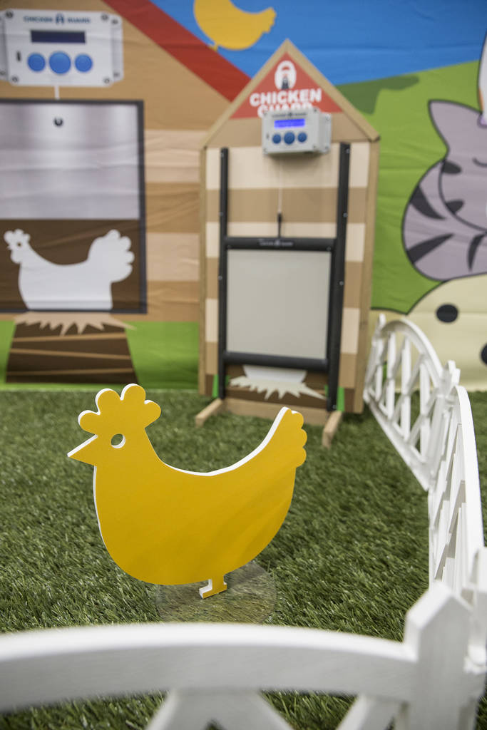 The ChickenGuard automatic chicken door at SuperZoo at the Mandalay Bay Convention Center on Tuesday, June 26, 2018, in Las Vegas. Benjamin Hager Las Vegas Review-Journal @benjaminhphoto