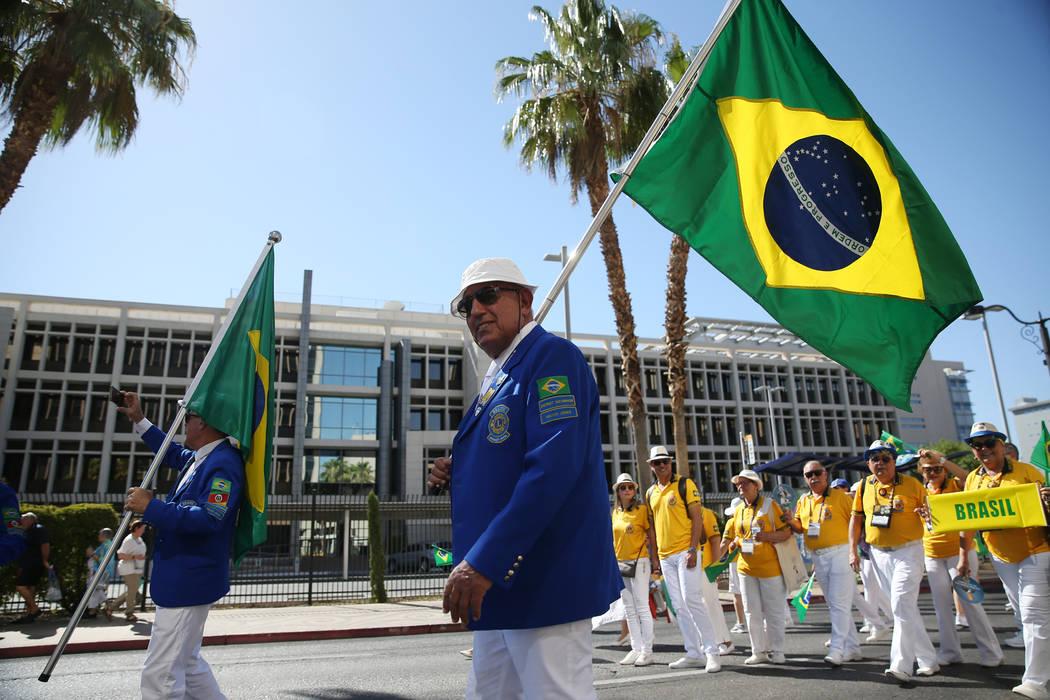 Luis Fernando Torres Cardozo of Brazil participates in the Lions Clubs International Parade of Nations on S. 4th Street in Las Vegas, Saturday, June 30, 2018. Erik Verduzco Las Vegas Review-Journa ...