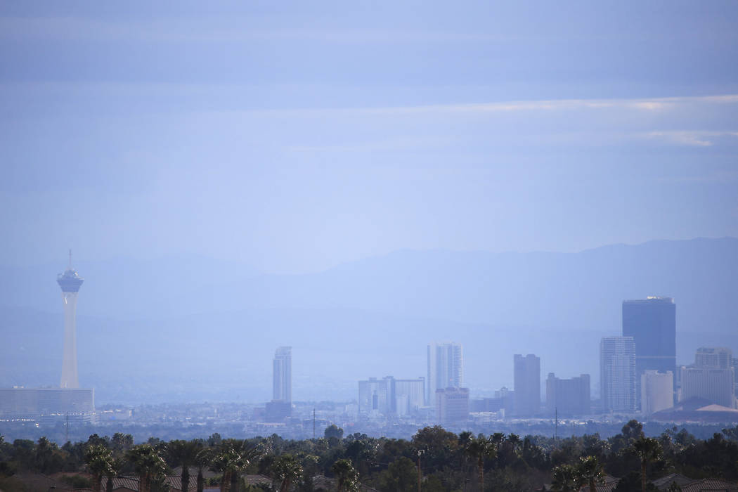 Haze obscures the Las Vegas Strip, seen from the west side of the valley, Monday, Feb. 20, 2017. (Brett Le Blanc/Las Vegas Review-Journal) @bleblancphoto