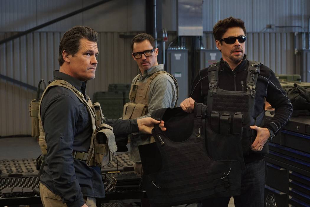 "Josh Brolin, left, Jeffrey Donovan and Benicio Del Toro star in in ""Socario: Day of the Soldado."" (Richard Foreman, Jr./Sony Pictures Entertainment)"
