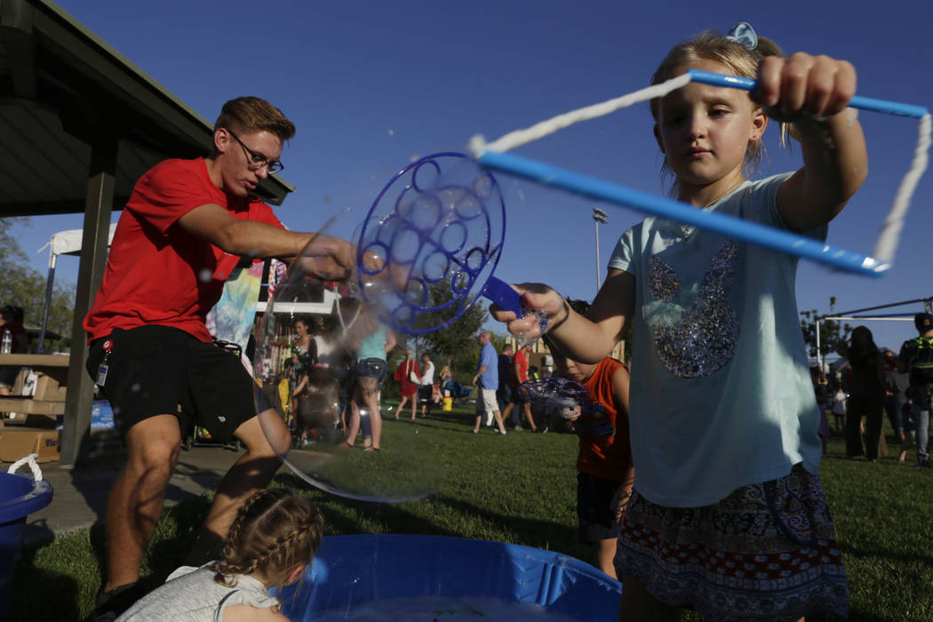 Kids blow bubbles at the City of Henderson's Fourth of July celebration at Heritage Park in Henderson, Tuesday, July 4, 2017. (Gabriella Angotti-Jones/Las Vegas Review-Journal) @gabriellaangojo