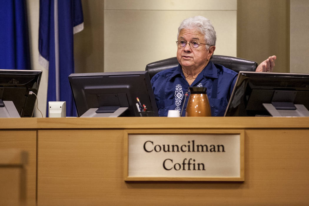 Councilman Bob Coffin expresses his concerns about the potential developers for the Badlands golf course at a City Council meeting at Las Vegas City Hall on Wednesday, August 2, 2017. Patrick Con ...