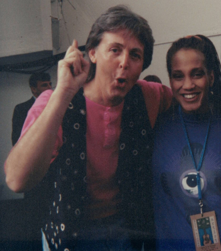 Las Vegas singer Michelle Johnson is shown with Paul McCartney before an Earth Day concert at Hollywood Bowl in Los Angeles on April 16, 1993. (Michelle Johnson)