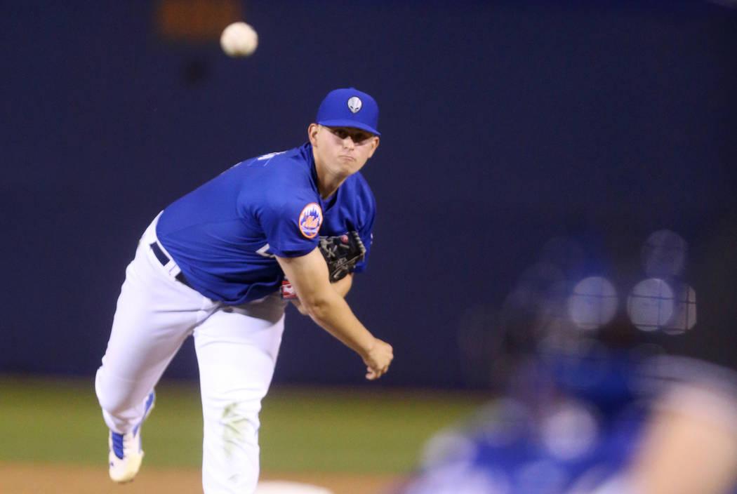 Las Vegas 51s pitcher Chris Flexen pitches at Cashman Field in Las Vegas Monday, April 23, 2018. (K.M. Cannon Las Vegas Review-Journal)