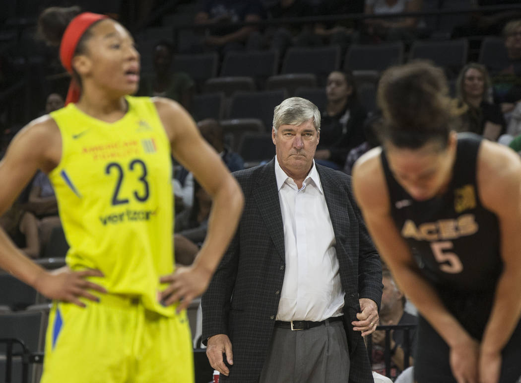 Aces coach Bill Laimbeer stares down a referee in the 1st quarter during Las Vegas' matchup with the Dallas Wings on Wednesday, June 27, 2018, at the Mandalay Bay Events Center, in Las Vegas. Benj ...