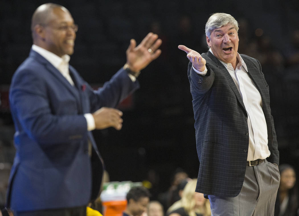 Aces head coach Bill Laimbeer, right, shares a laugh with Dallas Wings coach Fred Williams in the 3rd quarter on Wednesday, June 27, 2018, at the Mandalay Bay Events Center, in Las Vegas. Benjamin ...