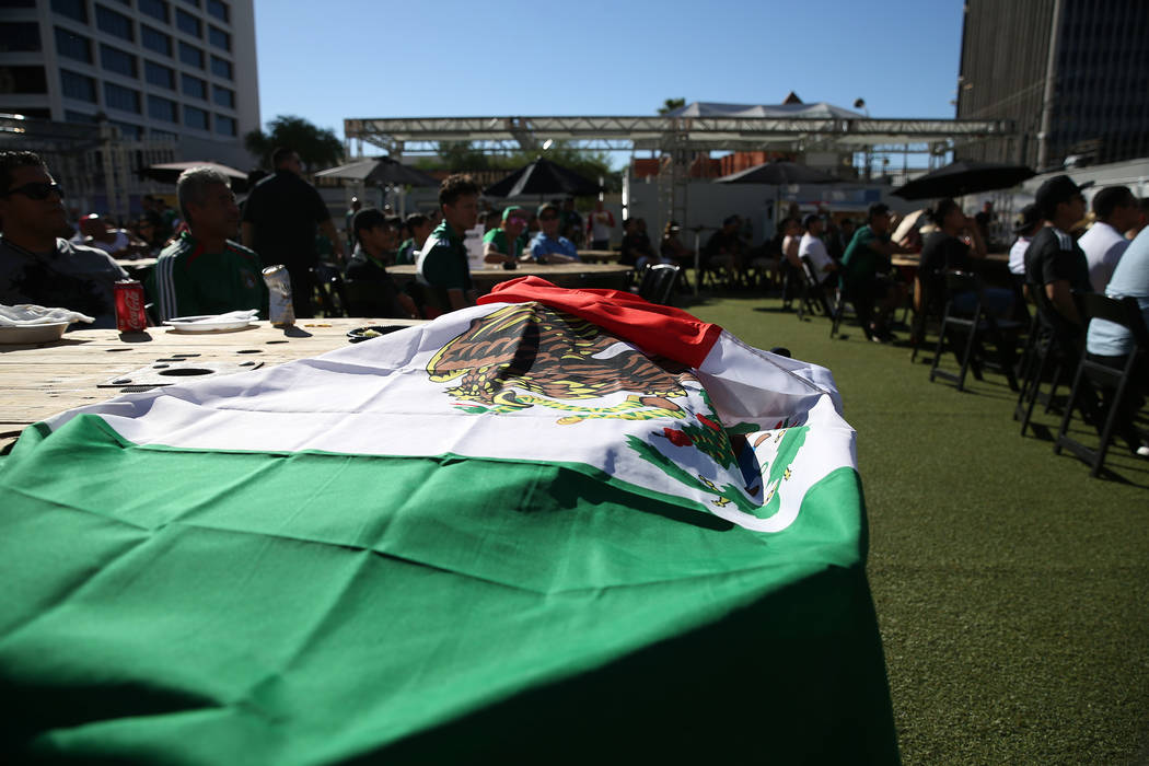 A Mexico is displayed during a watch party for the World Cup soccer match between Mexico and South Korea at the Downtown Las Vegas Events Center in Las Vegas, Saturday, June 23, 2018. Erik Verduzc ...