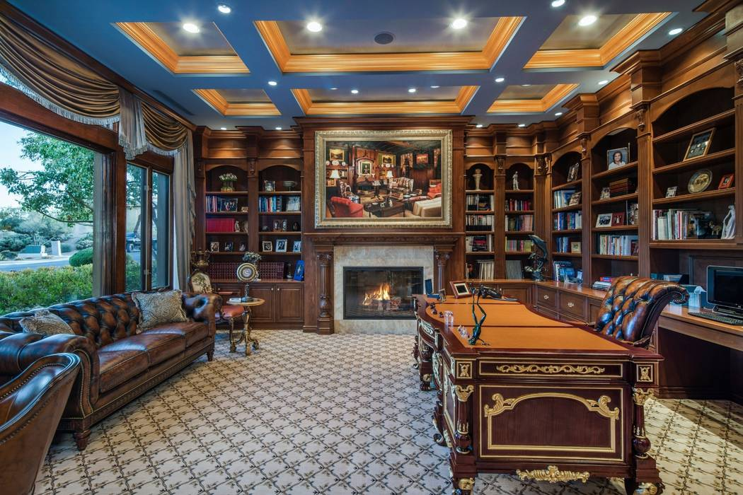The home has an English-styled office with mahogany built-ins. (Ivan Sher Group)