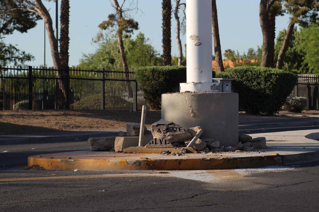 A driver crashed into the pole holding a historic Binion's Horseshoe sign in the median of Las Vegas Boulevard North near Washington Avenue, in downtown Las Vegas, Friday, June 29, 2018. The mar ...
