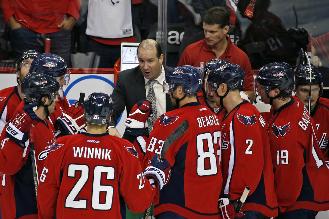 In this April 14, 2016, file photo, Washington Capitals assistant coach Todd Reirden talks with the team during a timeout in the third period of Game 1 in the first round of the NHL Stanley Cup ho ...