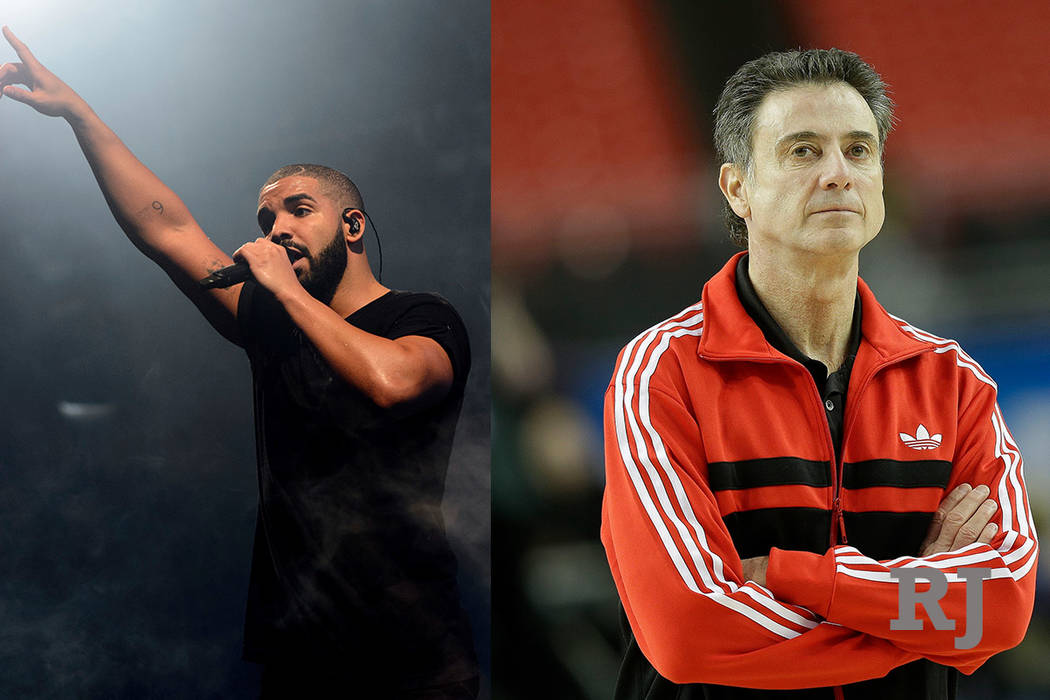A composite photo of Canadian singer Drake and former Louisville head coach Rick Pitino. (The Associated Press)