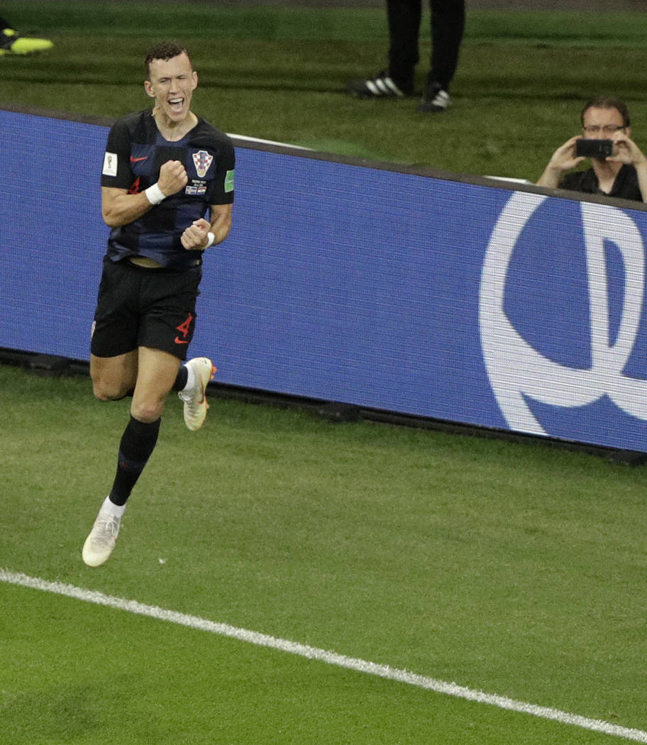 Croatia's Ivan Perisic celebrates after scoring his side winning goal during the group D match between Iceland and Croatia at the 2018 soccer World Cup in the Rostov Arena in Rostov-on-Don Russi