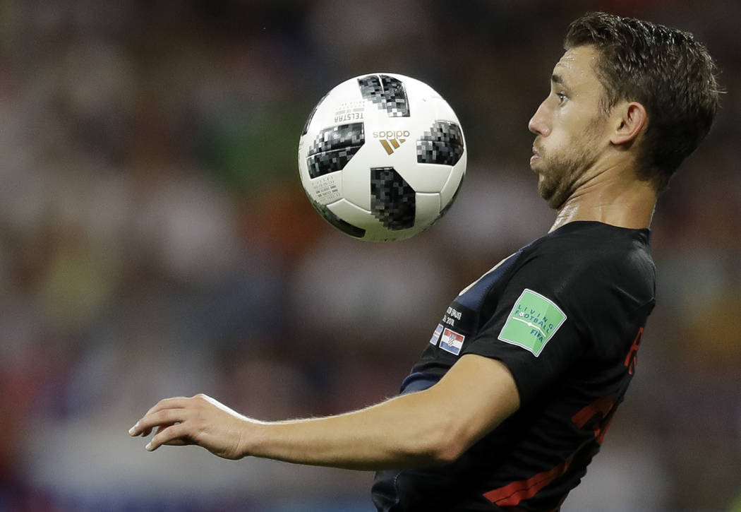 Croatia's Josip Pivaric prepares to chest the ball during the group D match between Iceland and Croatia, at the 2018 soccer World Cup in the Rostov Arena in Rostov-on-Don, Russia, Tuesday, June 26 ...