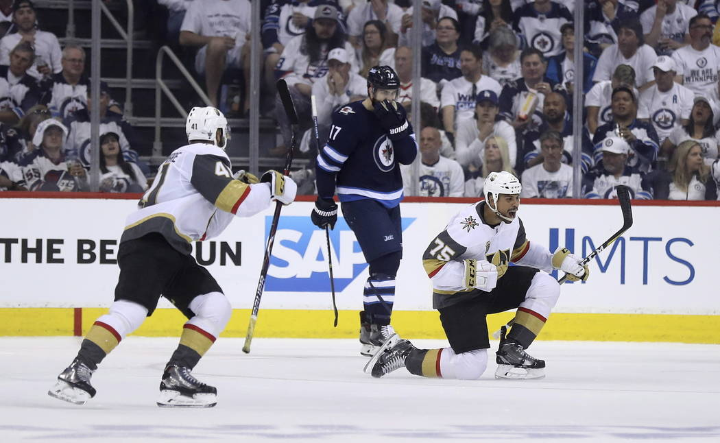 Vegas Golden Knights' Ryan Reaves (75) celebrates after scoring during second period NHL Western Conference Finals game 5 hockey action against the Winnipeg Jets, in Winnipeg, Sunday, May 20, 2018 ...