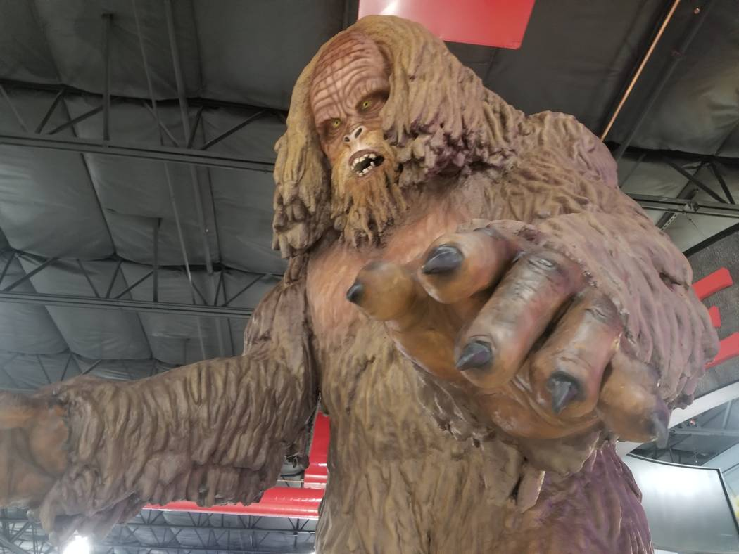 A 13-foot sasquatch statue, part of the decor inside Terrible Herbst's 50,000-square-foot travel center, in Jean, Nev. on Friday, June 29, 2018. The center has retail stores for Red Bull and Jack ...