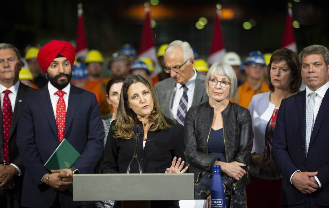 Chrystia Freeland, Canada's Minister of Foreign Affairs, speaks during her visit to Stelco in Hamilton, Ontario, Friday, June 29, 2018. Canada announced billions of dollars in retaliatory tariffs ...