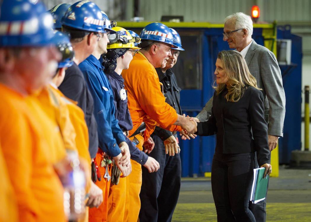 Chrystia Freeland, Canada's Minister of Foreign Affairs, meets with employees during her visit to Stelco in Hamilton, Ontario, Friday, June 29, 2018. Canada announced billions of dollars in retal ...