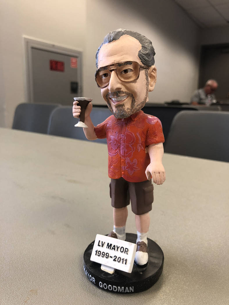 A bobblehead of former Las Vegas Mayor Oscar Goodman, holding a martini glass, was part of a popular series of 51s giveaways. (Betsy Helfand/Las Vegas Review-Journal)