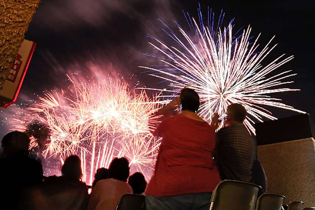 Fireworks light up the sky during a 2012 Independence Day celebration following a Las Vegas 51s baseball game at Cashman Field. (Las Vegas Review-Journal)